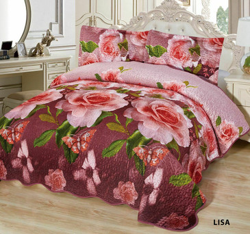 3-Pcs Super Soft Quilted Reversible VELVET Bedspread Coverlet Set - LISA