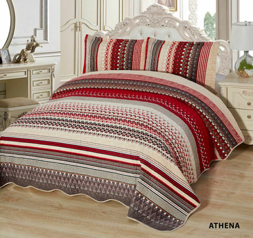 3-Pcs Super Soft Quilted Reversible VELVET Bedspread Coverlet Set - ATHENA