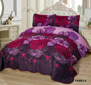 3-Pcs Super Soft Quilted Reversible VELVET Bedspread Coverlet Set - PAMELA