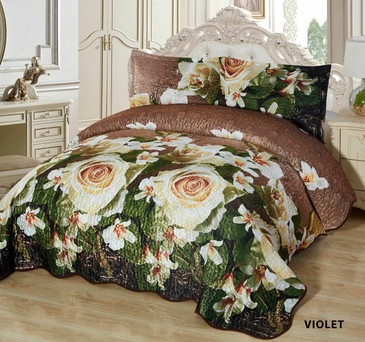 3-Pcs Super Soft Quilted Reversible VELVET Bedspread Coverlet Set - VIOLET