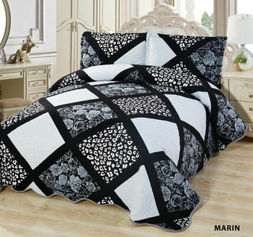 3-Pcs Super Soft  Quilted Reversible VELVET Bedspread Coverlet Set - MARIN