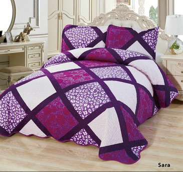 3-Pcs Super Soft Quilted Reversible VELVET Bedspread Coverlet Set - SARA