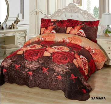 3-Pcs Super Soft Quilted Reversible VELVET Bedspread Coverlet Set - SAMARA