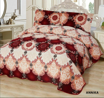 3-Pcs Super Soft  Quilted Reversible VELVET Bedspread Coverlet Set - ANNIKA