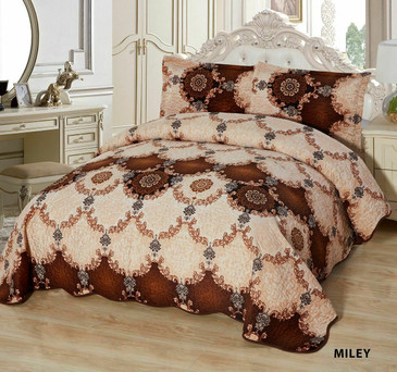 3-Pcs Super Soft QUEEN Quilted Reversible VELVET Bedspread Coverlet Set - MILEY