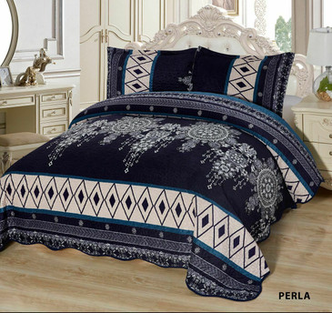 3-Pcs Super Soft QUEEN Quilted Reversible VELVET Bedspread Coverlet Set - PERLA