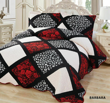 3-Pcs Super Soft QUEEN Quilted Reversible VELVET Bedspread Coverlet Set-BARBARA