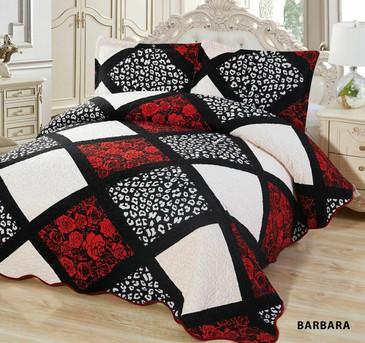 3-Pcs Super Soft QUEEN Quilted Reversible VELVET Bedspread Coverlet Set-BARBARA