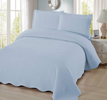 Orly's Dream 3 Pcs Super Soft Queen Size Solid Light Blue Color, Pre-Washed Quilt Set, Microfiber Fabric Quilted Bedspread Coverlet Bedding Set. (Light Blue)