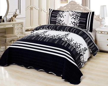 Orly's Dream 3 Pcs Super Soft Queen Size Printed Pre-Washed Quilt Set, Microfiber Fabric Quilted Bedspread Coverlet Bedding Set (Dalia)