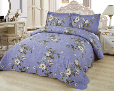 Orly's Dream 3 Pcs Super Soft Queen Size Printed Pre-Washed Quilt Set, Microfiber Fabric Quilted Bedspread Coverlet Bedding Set (Juliette)