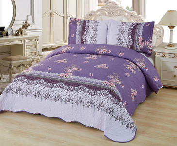 Orly's Dream 3 Pcs Super Soft Queen Size Printed Pre-Washed Quilt Set, Microfiber Fabric Quilted Bedspread Coverlet Bedding Set (Kianna)
