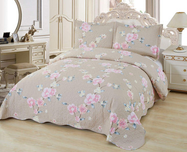Orly's Dream 3 Pcs Super Soft Queen Size Printed Pre-Washed Quilt Set, Microfiber Fabric Quilted Bedspread Coverlet Bedding Set (Mackenna)
