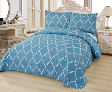 Orly's Dream 3 Pcs Super Soft Queen Size Printed Pre-Washed Quilt Set, Microfiber Fabric Quilted Bedspread Coverlet Bedding Set (Selina)