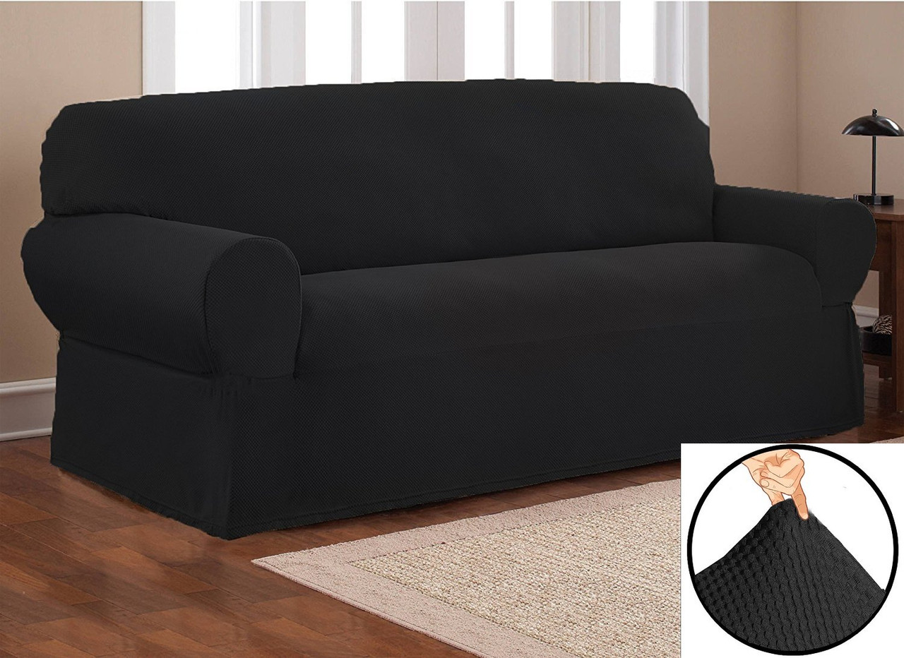 Couch Cover Solid Color 1 Piece Sofa Slipcover STRETCH FORM FIT NAVY BLUE
