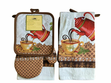 3 PCS KITCHEN SET 1 PRINTED TOWEL, 1 POT HOLDER, 1 OVEN MITT / GLOVE (# 09)