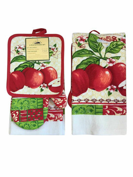 3 PCS KITCHEN SET 1 PRINTED TOWEL, 1 POT HOLDER, 1 OVEN MITT / GLOVE (# 01)