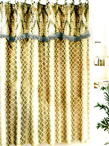 SAGE FABRIC SOLID DOUBLE SHOWER CURTAIN VINYL LINER