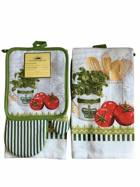 3 PCS KITCHEN SET 1 PRINTED TOWEL, 1 POT HOLDER, 1 OVEN MITT / GLOVE (# 02)