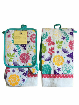 3 PCS KITCHEN SET 1 PRINTED TOWEL, 1 POT HOLDER, 1 OVEN MITT / GLOVE (# 04)