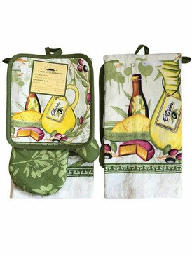 3 PCS KITCHEN SET 1 PRINTED TOWEL, 1 POT HOLDER, 1 OVEN MITT / GLOVE (# 06)