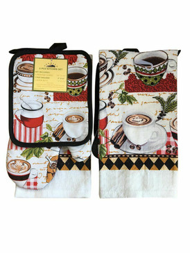 3 PCS KITCHEN SET 1 PRINTED TOWEL, 1 POT HOLDER, 1 OVEN MITT / GLOVE (# 08)