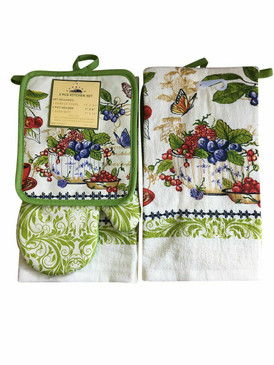 3 PCS KITCHEN SET 1 PRINTED TOWEL, 1 POT HOLDER, 1 OVEN MITT / GLOVE (# 10)