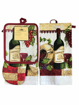 3 PCS KITCHEN SET 1 PRINTED TOWEL, 1 POT HOLDER, 1 OVEN MITT / GLOVE (# 11)