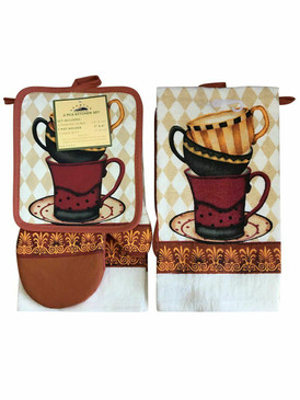 3 PCS KITCHEN SET 1 PRINTED TOWEL, 1 POT HOLDER, 1 OVEN MITT / GLOVE (# 12)