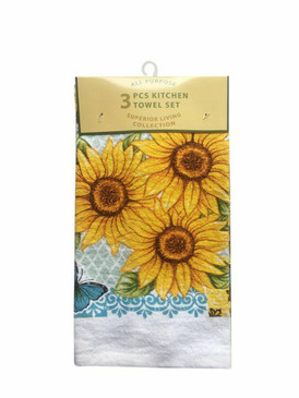 ALL PURPOSE 3 PCS KITCHEN TOWEL SET 2 PRINTED POLYCOTTON 1 SOLID MICROFIBER (#3)