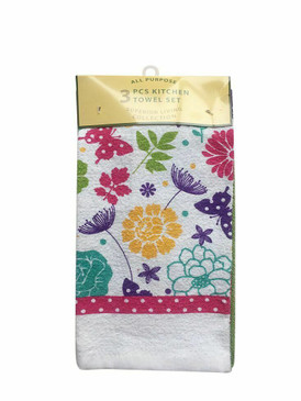ALL PURPOSE 3 PCS KITCHEN TOWEL SET 2 PRINTED POLYCOTTON 1 SOLID MICROFIBER (#4)
