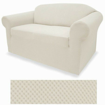 STRETCH FORM FIT - 2 Pcs Slipcovers Set, Couch / Sofa + Loveseat Covers - WHITE
