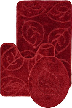 Leaf Pattern Design 3pc Bath Mat Rug set Burgundy Soft and Ultra Absorbent with Anti-Slip Backing