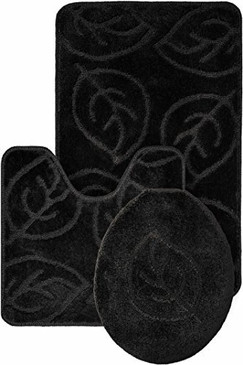 Leaf Pattern Design 3pc Bath Mat Rug set Black Soft and Ultra Absorbent with Anti-Slip Backing