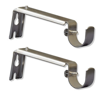 Orly's Dream Adjustable Curtain Rod Extension Brackets - ⅝ or ¾ Inch Rod (Satin Nickel)