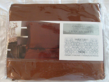 Judith Roberts Luxury Soft Silk~y Satin 3 Pcs TWIN Size Sheet Set Copper Brown Color