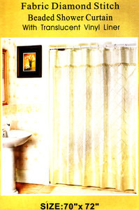 Beige FABRIC Diamond Stitch SHOWER CURTAIN VINYL LINER