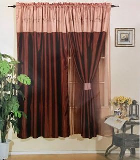 Orly's Dream, New Elegant Jane 2 Pc Curtain set with Tie Backs, Classic Embroidery - Antique Gold color.
