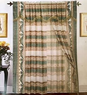 Orly's Dream New Collection, Classic Design, 2 pc Curtain Set with Tie Backs - White/Green.