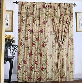 Orly's Dream New Floral Design 2 pc Curtain Set with Tie Backs - Beige/Red.