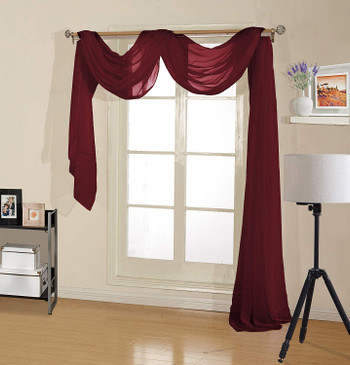 "orly's Dream Beautiful and Elegance Window Sheer Voile Scarf 60"" X 216"" Burgundy"