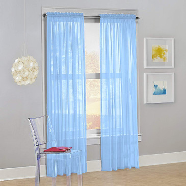 "Orly's Dream 1 Panel Sheer/Voile  Window Curtain/Drape 60"" X 84"" - Light Blue."