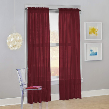 "Orly's Dream 1 Panel Sheer/Voile  Window Curtain/Drape 60"" X 84"" - Burgundy."