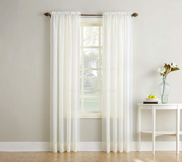 "Orly's Dream Crushed Texture Sheer Voile 1 Panel Window Curtain 54"" x 84"" - White."