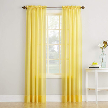 "Orly's Dream Crushed Texture Sheer Voile 1 Panel Window Curtain 54"" x 84"" - GOLD."
