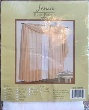 "Orly's Dream Crushed Texture Sheer Voile One Panel Window Curtain 52"" x 84"" - WHITE"