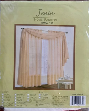 "Orly's Dream Crushed Texture Sheer Voile One Panel Window Curtain 52"" x 84"" - BEIGE"