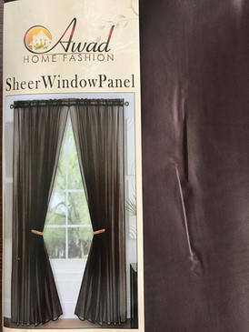 "Orly's Dream 1 Panel Sheer Voile Window Curtain Treatment Drape 55"" X 84"" - Brown"