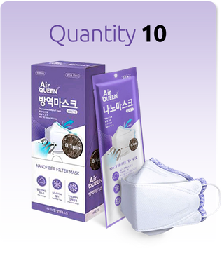 10 pcs Reusable Breathable Air Queen Nano Mask from Korea FDA Approved - Top Quality AirQUEEN Nanofiber Filter Mask Technology