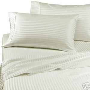 "400 TC Satin KING Sheet Set 100% Cotton 15"" Deep WHITE"
